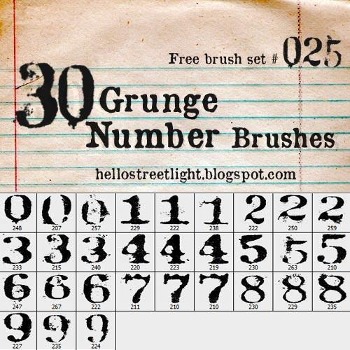 Free Brush Set 25 Grunge Numbers by tau-kast