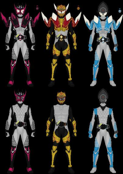 Kamen Rider Gaim's Apple Riders by Taiko554